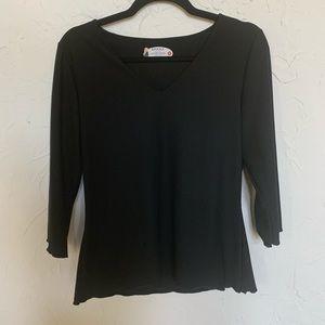 SOLD!! SPANX Black Long Sleeve V Neck Top Sz S